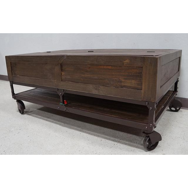 Industrial Wheels For Coffee Table: Rustic Industrial Coffee Table On Casters