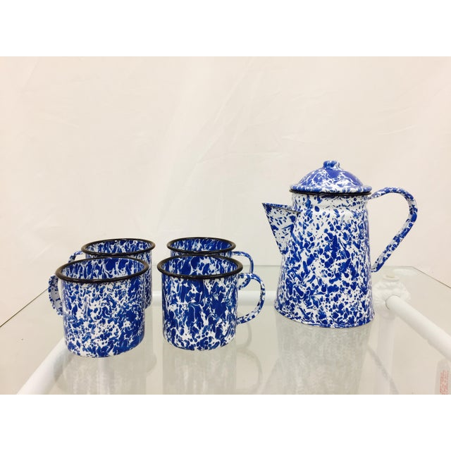 Blue & White Paint Splattered Enamel 5-Piece Tea Set - Image 4 of 11