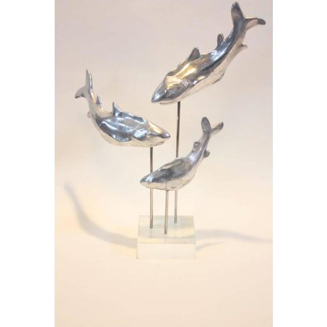 Aluminium and Lucite Trio of Sharks Sculpture - Image 2 of 10
