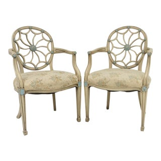 Cream & Turquoise Pinwheel Back Armchairs - A Pair