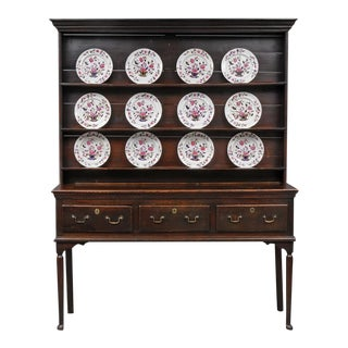 English Georgian Sussex Oak Dresser and Plate Rack, 18th Century