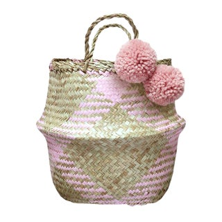 "Brunna ""Smitten Bunnies"" Handwoven Seagrass Basket"