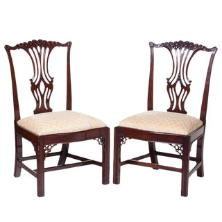 Vintage Chippendale Mahogany Chairs - A Pair