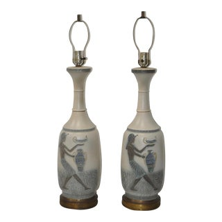 Pair of Vintage Egyptian Revival Ceramic Table Lamps c.1960s