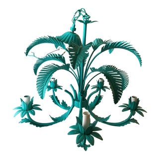 Turquoise Palm Tole Chandelier