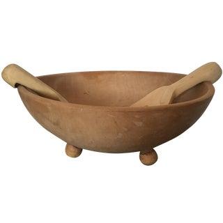 3-Piece Vintage Wood Salad Bowl & Tongs Set