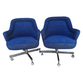 Mid-Century Max Pearson Style Swivel Chairs - Pair