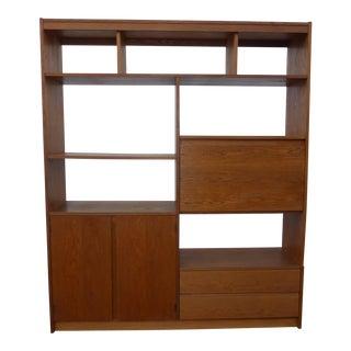 Vintage Danish Mid-Century Modern Wall Bookcase, Storage & Drawers