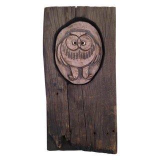 Vintage Rustic Abstract Wood & Owl Wall Decor