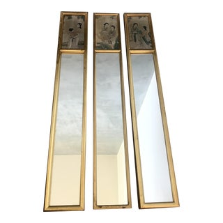 Asian Painted Wall Mirrors - Set of 3