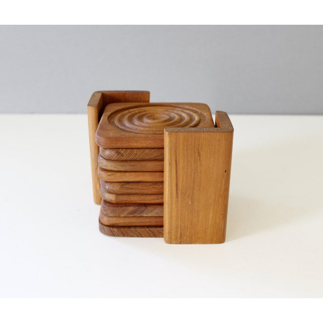 Danish Modern Dolphin Teak Coasters With Caddy- Set of 8 - Image 2 of 4