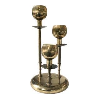 Mid Century Brass Triple Light Lamp