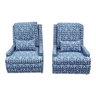 Mid-Century Blue Side Chairs - A Pair