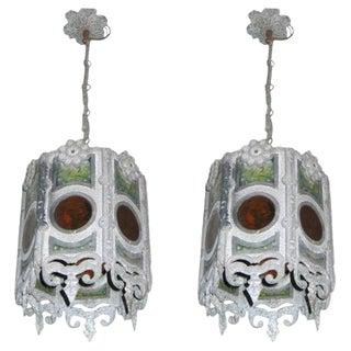 Pair of Italian Hexgonal Pendants / Lanterns