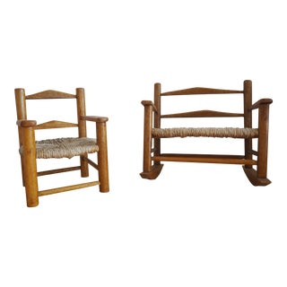 Miniature Wicker Chair and Loveseat