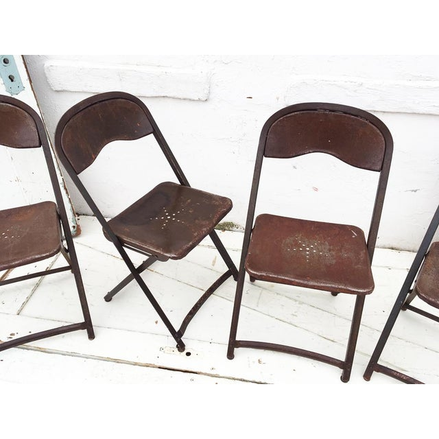 Image of 1950's Metal Folding Chairs - Set of 4