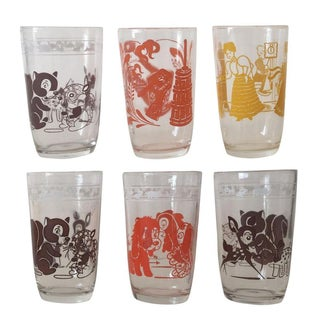 Vintage Multicolor Juice Glasses - Set of 6