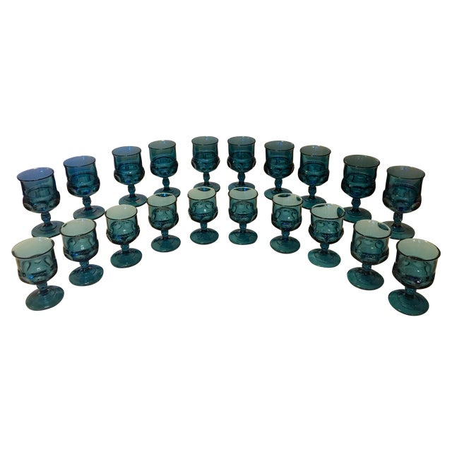Teal Kings Crown Wine Goblets - Set of 20 - Image 1 of 5