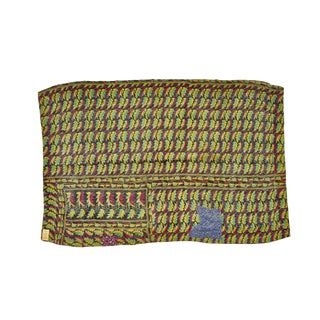 Reversible Indian Kantha Patchwork Throw Blanket