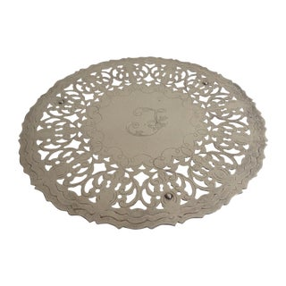 Silverplate Round Engraved Footed Trivet