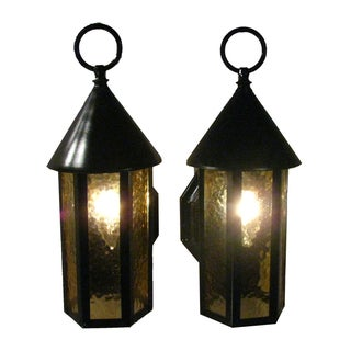 English Black Lantern Sconces - A Pair