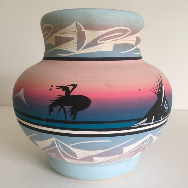 Vintage Signed Navajo Native American Pink Mesa Sunset Hand Painted Pottery Vase - Image 3 of 11