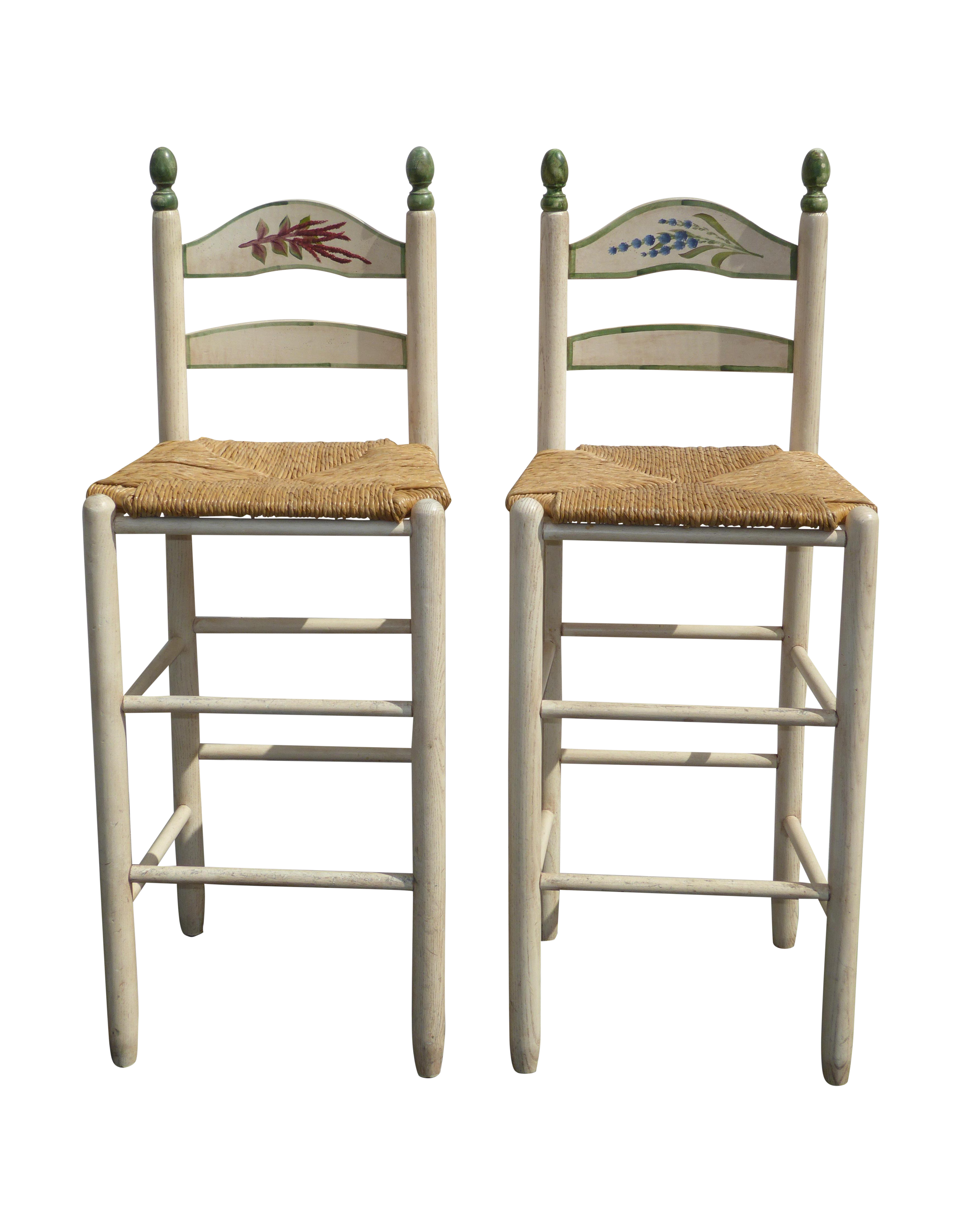 French Country White Rush Seat Bar Stools -- A Pair  sc 1 st  Chairish & Vintage u0026 Used French Country Bar Stools | Chairish islam-shia.org