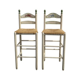French Country White Rush Seat Bar Stools - Pair