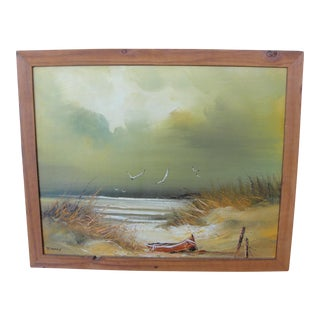 Vintage Oil on Canvas Beachscape Painting by J. Hory