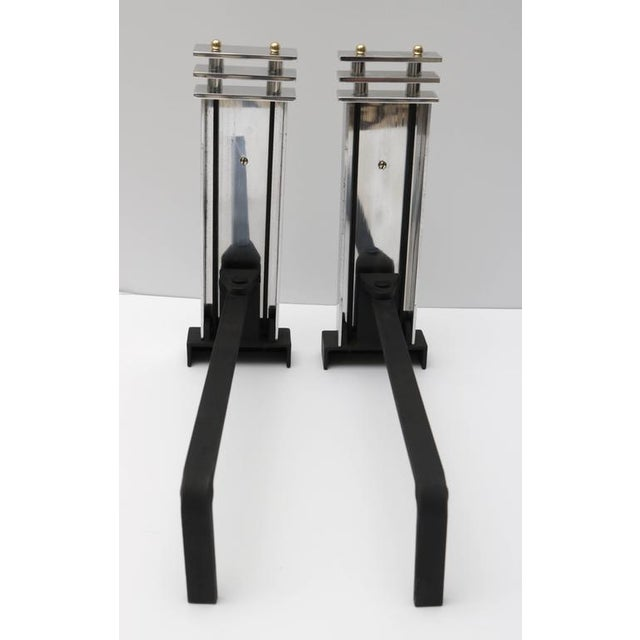 Art Deco Aluminum and Brass Andirons - A Pair - Image 8 of 9