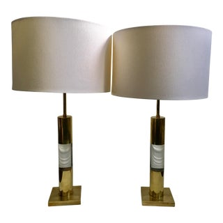 Mid-Century Italian Lucite & Brass Table Lamps - A Pair