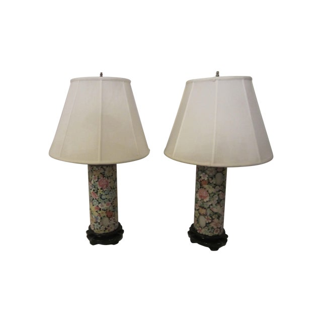 Image of Asian Inspired Lamps With Night Light - A Pair