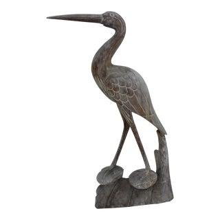 Vintage Hand Carved Wood Heron Statue