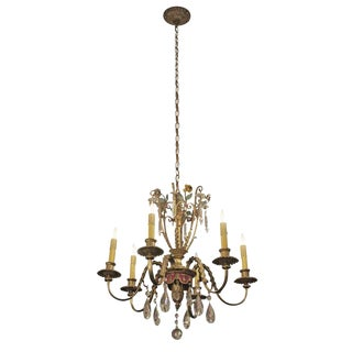 Elegant Six Light Bronze and Crystal Chandelier With Floral Motif