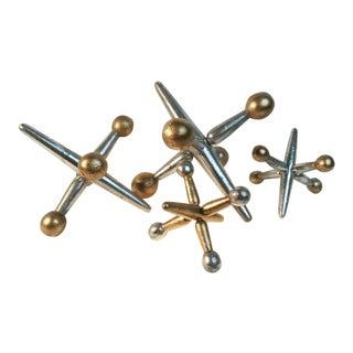 Large Gold & Silver Wood Jacks Decor Toy - Set of 4