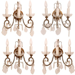 Set of Four Vintage Italian Beaded Gilt Iron and Crystal Sconces