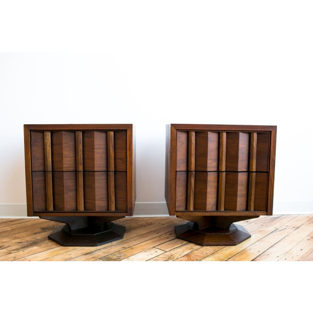 Mid Century Brutalist Paul Evans Styled Nightstands - a Pair - Image 2 of 9
