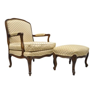 Vintage French Country Louis XV Bernhardt Attributed Provincial Style Arm Chair & Ottoman