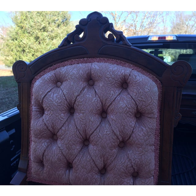 Vintage Victorian Chairs, Pink Upholstery - Pair - Image 4 of 9