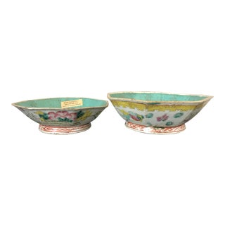 Antique Chinese Export Porcelain Bowls - a Pair