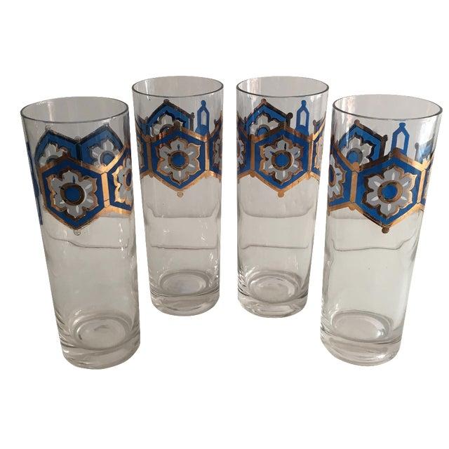 Blue & Gold Foil Highball Glasses - Set of 4 - Image 1 of 5