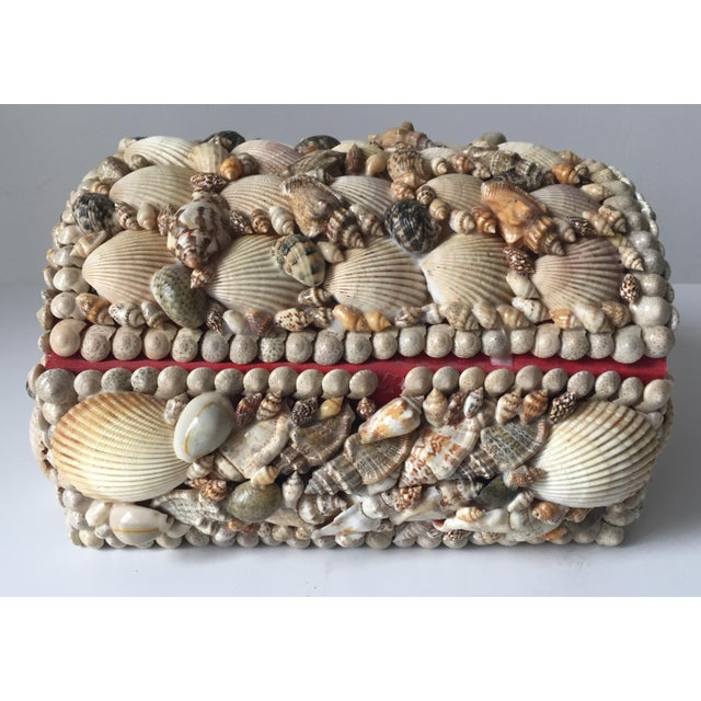 Vintage Large Shell Covered Jewelry Box - Image 5 of 7