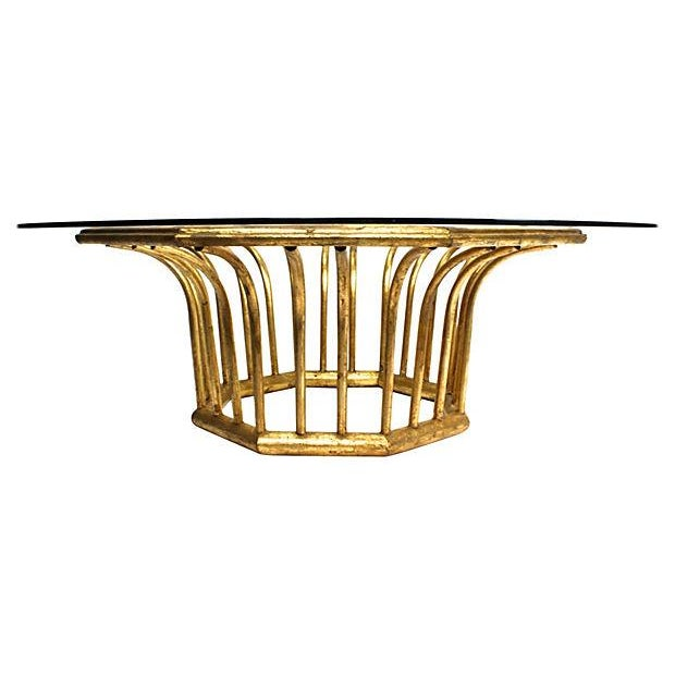 Image of Italian 20k Gold Leaf Round Coffee Table