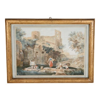 18th Century Capriccio Watercolor Painting