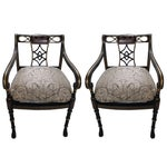 Image of Lion's Paw Feet Side Chairs with Fretwork - A Pair
