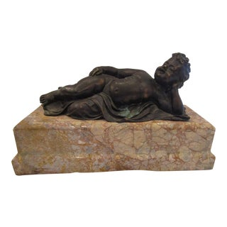 Marble & Bronze Reclining Cupid