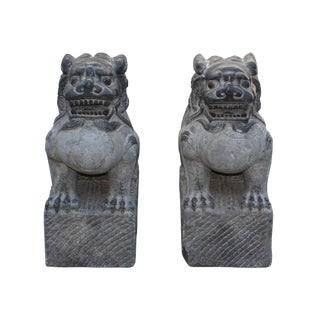 Chinese Black Gray Stone Fengshui Foo Dog Statues - A Pair