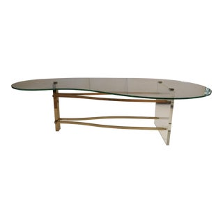 Mid Century Modern Brass & Lucite Coffee Table