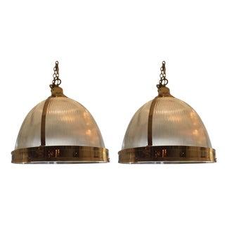 Ann Morris Brass Holophane Pendants - A Pair