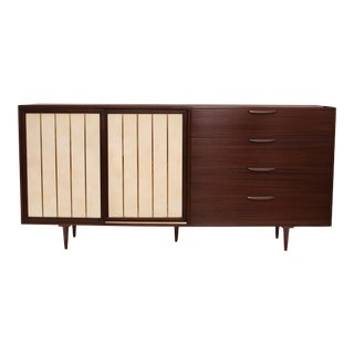 Stunning Mahogany Leather and Brass Sideboard by Harvey Probber